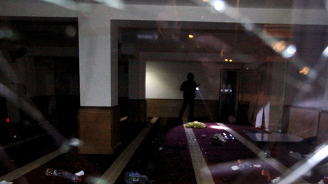 A picture shows a devastated Muslim prayer hall in Ajaccio, after protesters vandalized it and tried to set fire to copies of Koran, December 25, 2015. © Pierre Antoine Fournil