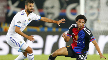 FC Basel's Mohamed Elneny (R) August 19, 2015. © Arnd Wiegmann