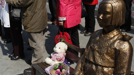 A statue of a girl which they call a 'peace monument' outside the Japanese embassy in Seoul © Kim Hong-Ji