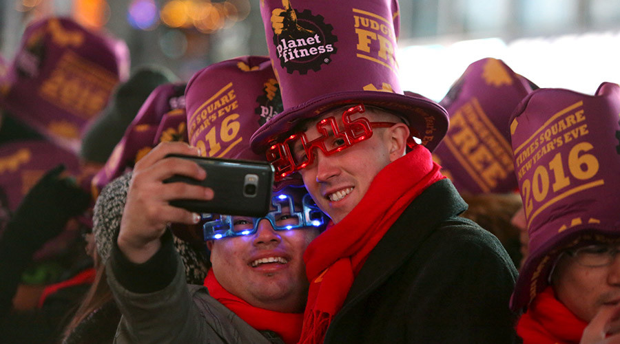 People take a selfie during New Year celebrations in Times Square in the Manhattan borough of New York December 31, 2015. © Andrew Kelly