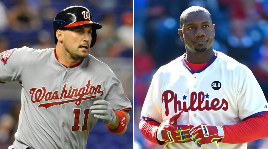 Washington Nationals first baseman Ryan Zimmerman (L) and Philadelphia Phillies first baseman Ryan Howard © Stringer