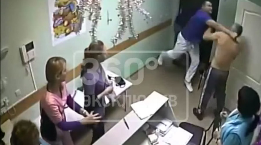 'You touched my nurse': Russian doctor hits & kills patient in hospital (VIDEO)