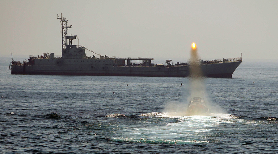 US releases video it says shows Iranian rockets fired near American aircraft carrier