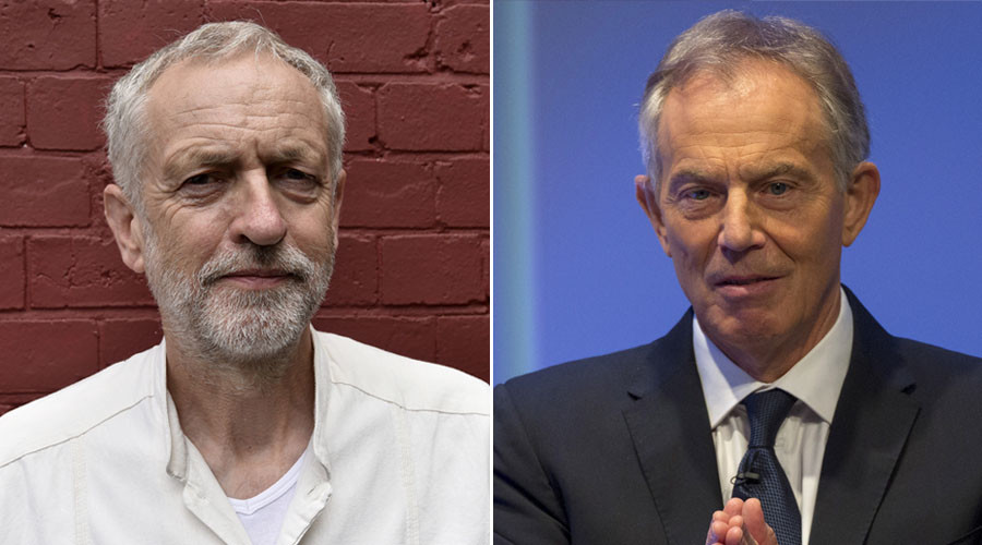 Britain's opposition Labour Party leader Jeremy Corbyn (L) and Former British Prime Minister Tony Blair. © Reuters