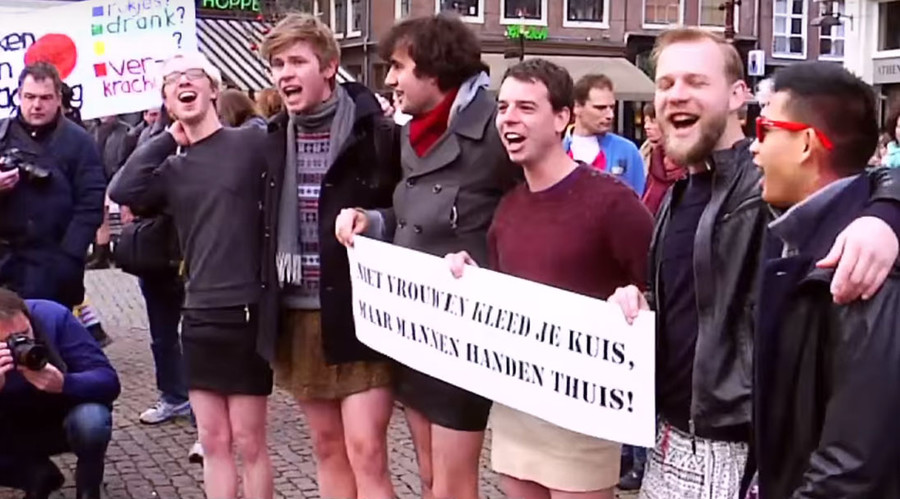 Dutch men put on mini-skirts to support victims of sex attacks (VIDEO, PHOTOS)