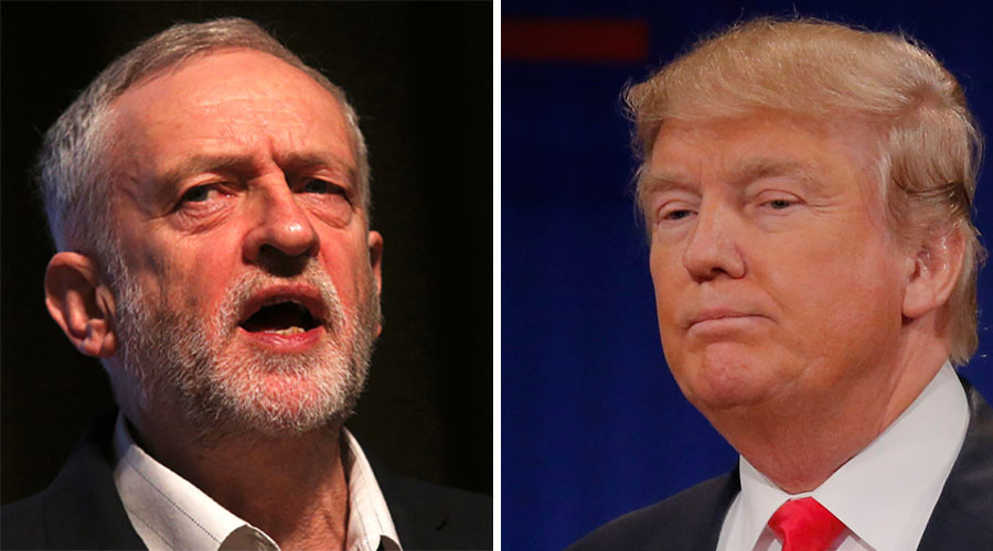 Britain's opposition Labour Party leader Jeremy Corbyn (L), republican U.S. presidential candidate Donald Trump. © Reuters