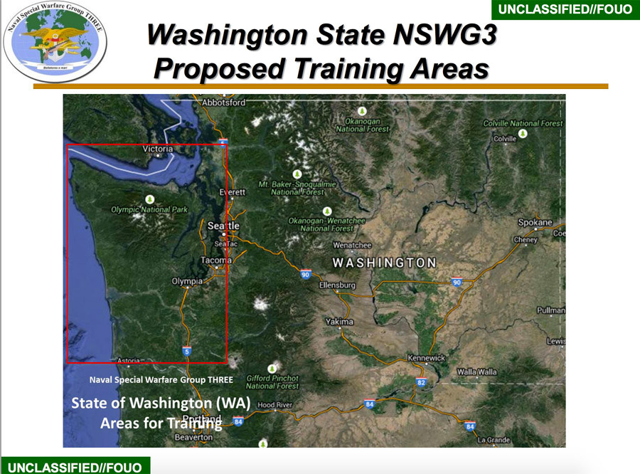 Slide from the SOCOM document about proposed Navy SEAL training operations in the Pacific Northwest