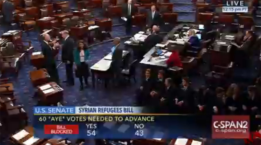 Senate blocks bill toughening controls on entry of  Syrian refugees