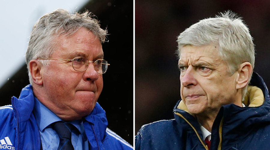 Chelsea manager Guus Hiddink (L), Arsenal manager Arsene Wenger. © Reuters