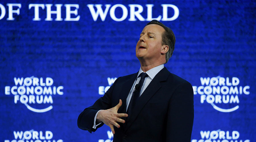 "British Prime Minister David Cameron addresses the attendees during the session ""Britain in the World"" during the Annual Meeting 2016 of the World Economic Forum (WEF) in Davos, Switzerland January 21, 2016. © Ruben Sprich"