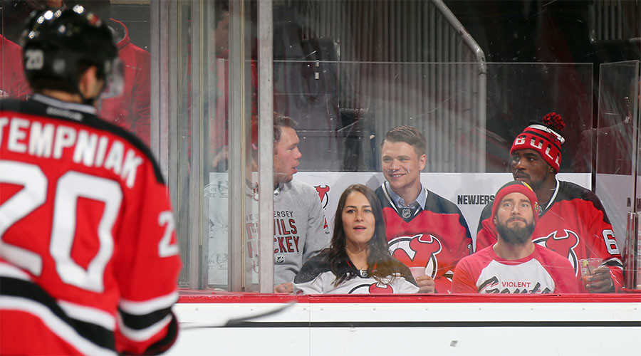 (l-r) Forrest Griffin, Jessica Eye, Chris Wade, CM Punk and Corey Anderson from the UF take in the game between the New Jersey Devils and the Ottawa Senators at the Prudential Center on January 21, 2016 in Newark, New Jersey. © Bruce Bennett / Getty Images / AFP