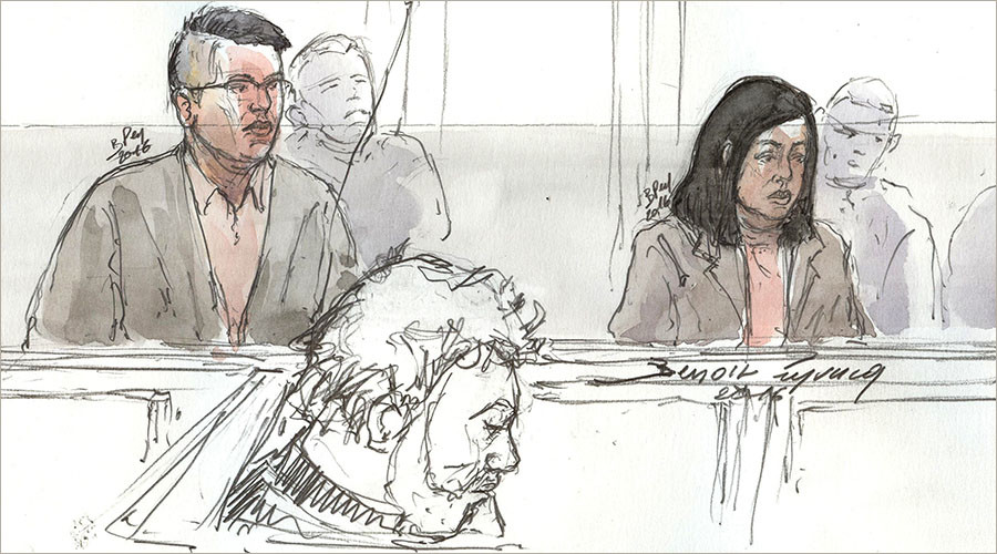 This file court sketch made on January 19, 2016 shows a Chinese couple, a nanny and her partner identified as Hui Zhang and her boyfriend Te Lu, both 34, accused of killing and dismembering the parents of a baby that had died in the babysitter's care, during their trial in Paris. © Benoit Peyrucq