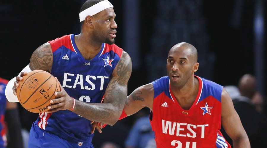 NBA All-Star LeBron James (L) and All-Star Kobe Bryant in Houston, Texas, February 17, 2013.  © Lucy Nicholson