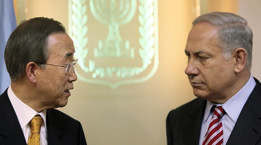 U.N. Secretary-General Ban Ki-moon (L) and Israel's Prime Minister Benjamin Netanyahu. ©Jim Hollander
