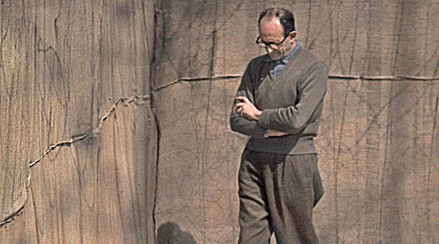 Adolf Eichmann in the yard of his cell at Ayalon Prison in Israel, 1961 © Wikipedia