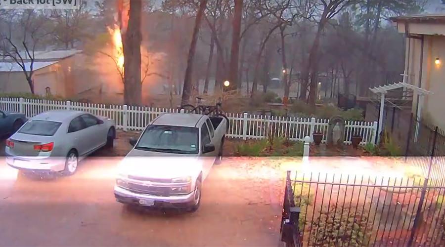 Lightning bolt decimates tree at Texas school (VIDEO)