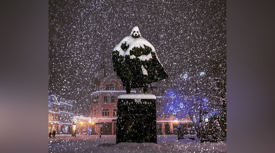 Snowstorm trooper: Polish 'Darth Vader' statue becomes internet star
