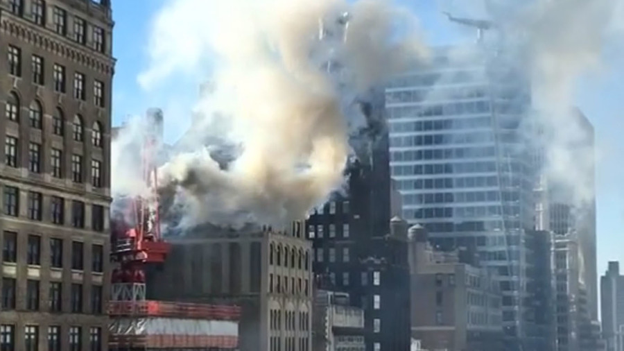 Crane catches fire in Midtown Manhattan