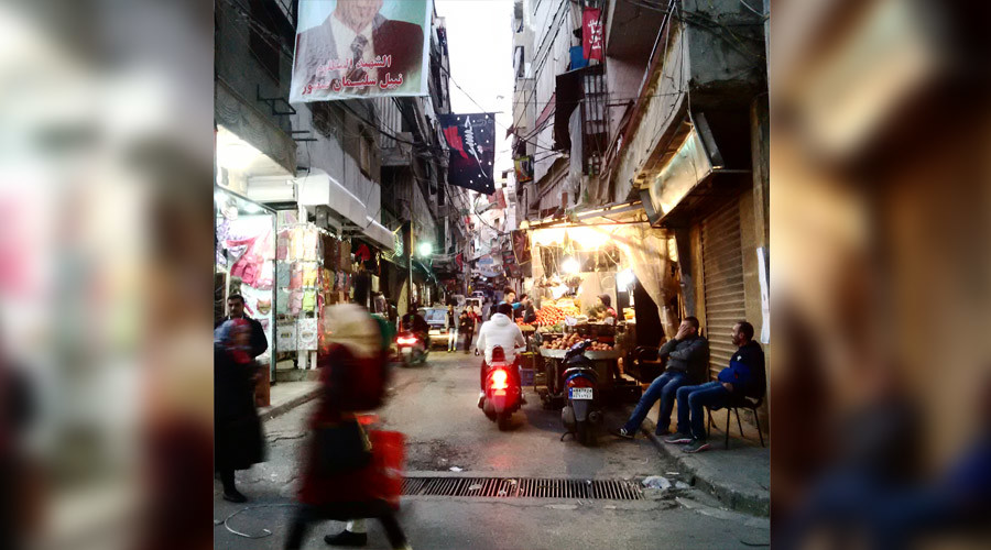 Commerical and residential streets in the Bourj al-Barajneh area of Beirut which was double terror bombed November 12. © Eva Bartlett