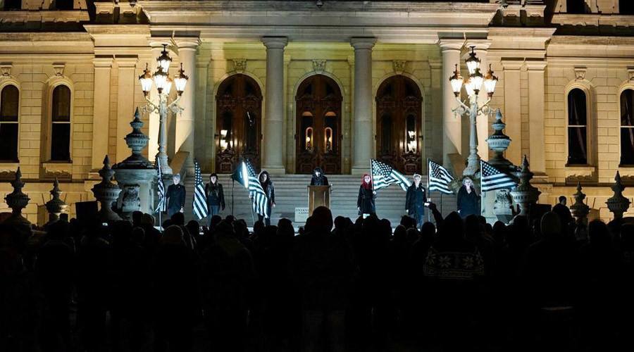In December Detroit's Satanic Temple held a cermony at the Michigan Capitol. © The Satanic Temple