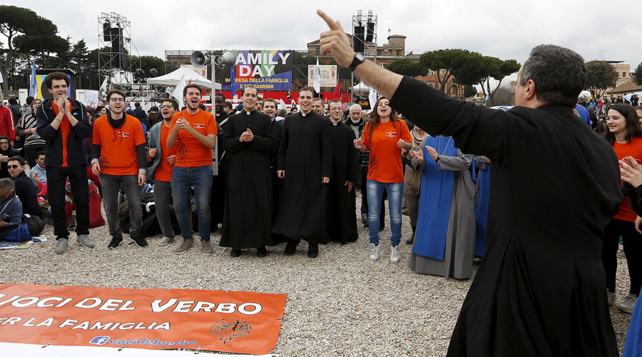 Priests shout slogans during a rally against same-sex unions and gay adoption in Rome, Italy January 30, 2016. © Remo Casilli
