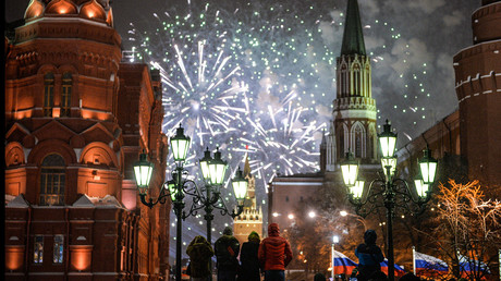 The heart of Moscow was lit up by a fireworks show around the Kremlin and St. Basil's Cathedral, which brought in the New Year in the Russian capital January 1, 2016. © Vladimir Astapkovic