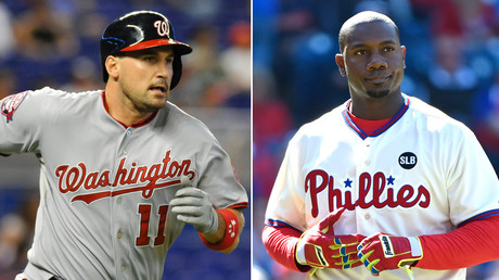 Washington Nationals first baseman Ryan Zimmerman (L) and Philadelphia Phillies first baseman Ryan Howard © Stringer