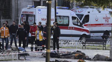 Rescue teams gather at the scene after an explosion in central Istanbul, Turkey January 12, 2016. © Kemal Aslan