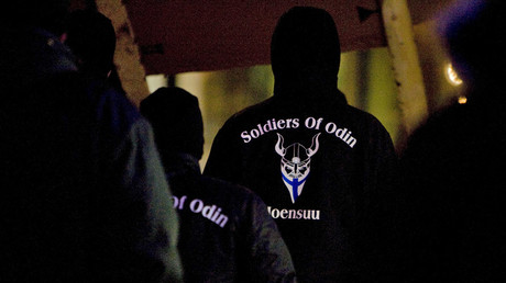 "A group that call themselves the ""Soldiers of Odin"" demonstrate in Joensuu, Eastern Finland, January 8, 2016 © Minna Raitavuo"