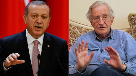 Turkish President Tayyip Erdogan (L) and Noam Chomsky © Stringer