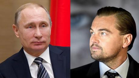 Russian President Vladimir Putin and actor Leonardo DiCaprio. © Ivan Sekretarev; Toby Melville
