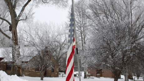 An American flag is seen at the Malheur National Wildlife Refuge near Burns, Oregon © Jim Urquhart
