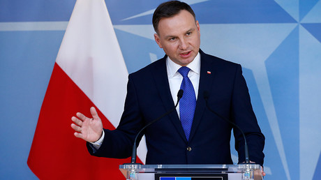 Poland's President Andrzej Duda holds a news conference after meeting NATO Secretary-General Jens Stoltenberg (unseen) at the Alliance headquarters in Brussels, Belgium, January 18, 2016 © Francois Lenoir