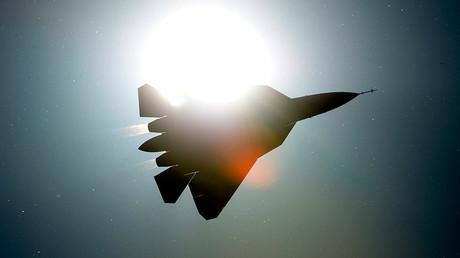 A PAK FA T-50 fighter jet performs a demo flight © Alexey Filippov