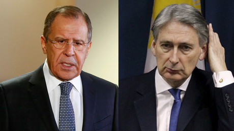 Russian Foreign Minister Sergei Lavrov and Visiting British Foreign Secretary Philip Hammond © Reuters