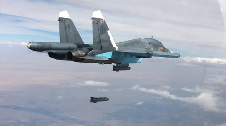 A Su-34 fullback bomber performs air strikes in the provinces of Raqqah and Aleppo © Ministry of defence of the Russian Federation