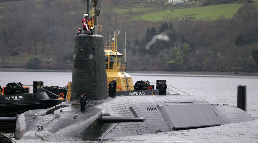 A British Royal Navy Vanguard class Trident Ballistic Missile Submarine. © David Moir