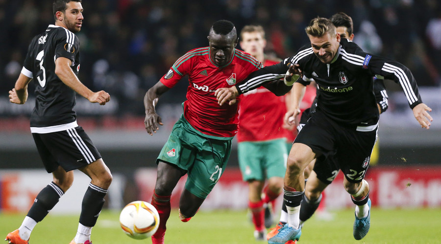 New Everton signing Oumar Niasse in action for Lokomotiv Moscow. © Maxim Zmeyev