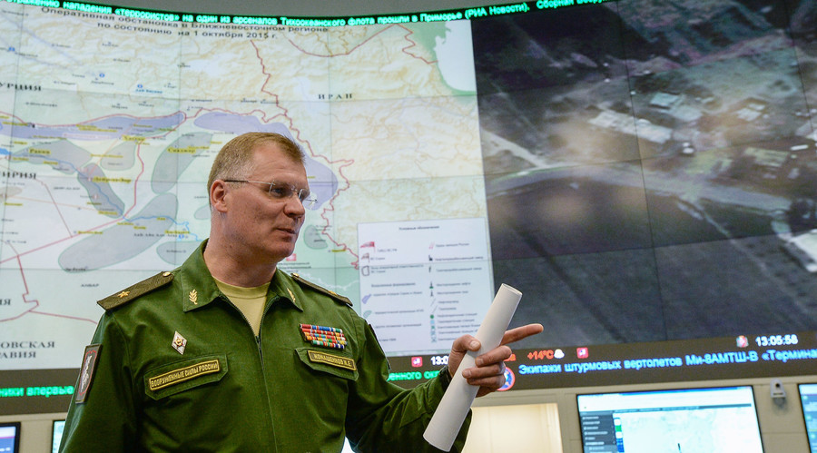 Russian Defense Ministry Spokesperson Major General Igor Konashenkov gives a press briefing at the National Defense Management Center in Moscow. © Alexander Vilf