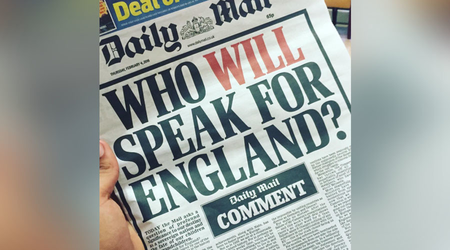 #WhoWillSpeakForEngland? Twitter offers witty replies to Daily Mail