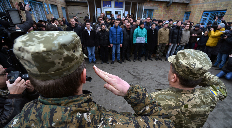 Persons conscripted to the Ukrainian army seen here at one of the recruiting points in Kiev. © Evgeny Kotenko
