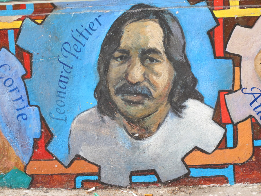 A mural of Peltier captured in 2010.