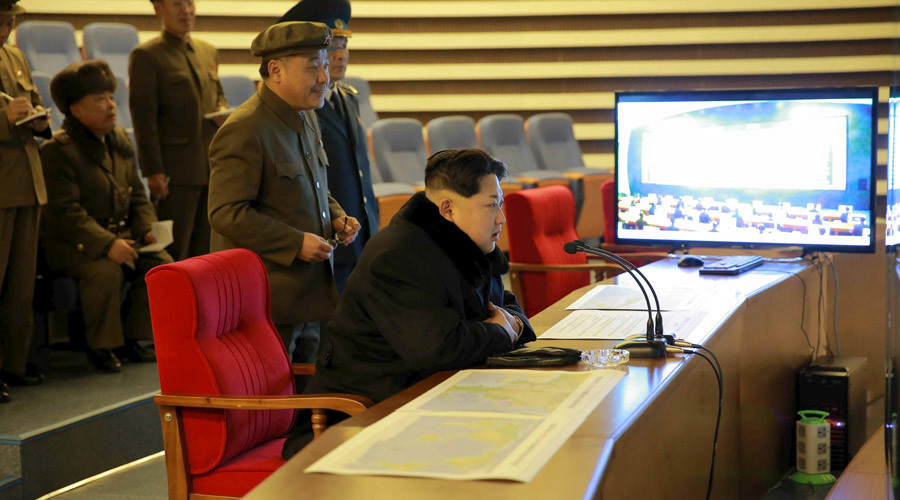 North Korean leader Kim Jong Un reacts as he watches a long range rocket launch in this undated photo released by North Korea's Korean Central News Agency (KCNA) in Pyongyang February 7, 2016. © KCNA