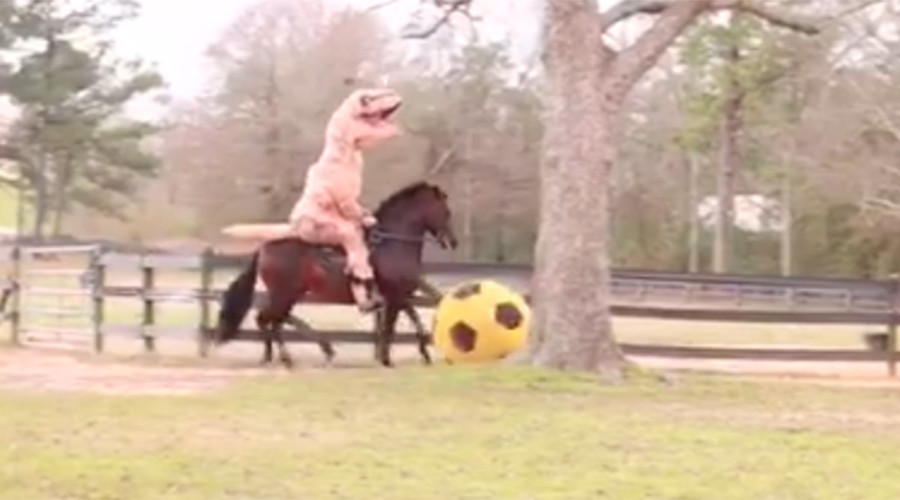 Epic randomness: T-Rex rides horse that kicks giant football (VIDEO)