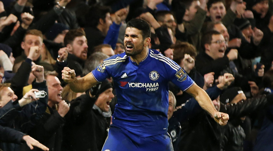 Chelsea's Diego Costa celebrates scoring a goal against Manchester United