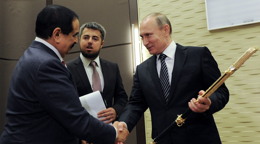 Russian President Vladimir Putin (right) and King of Bahrain Hamad bin Isa Al Khalifa seen at the Bocharov Ruchei residence, during the ceremony of handing over a Damascus steel saber to the Russian president. © Michael Klimentyev