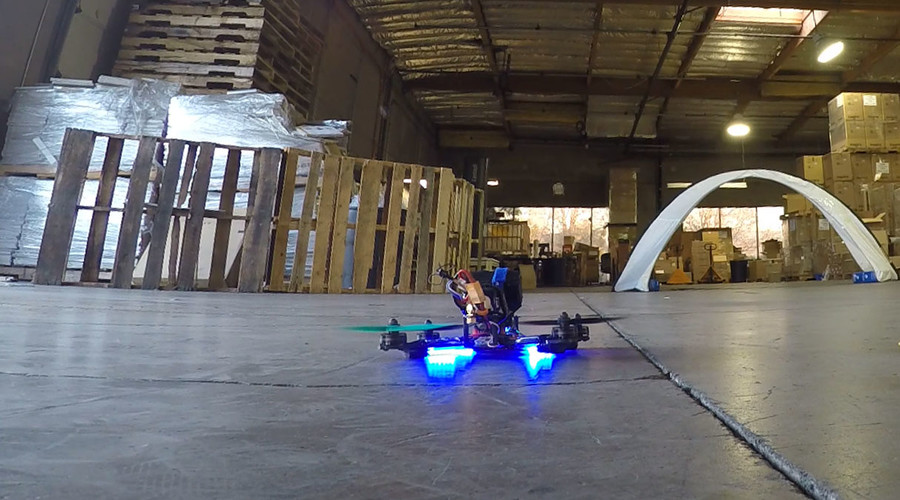 Fast and furious: Warehouse drone racing brings sci-fi sport to life (VIDEO)