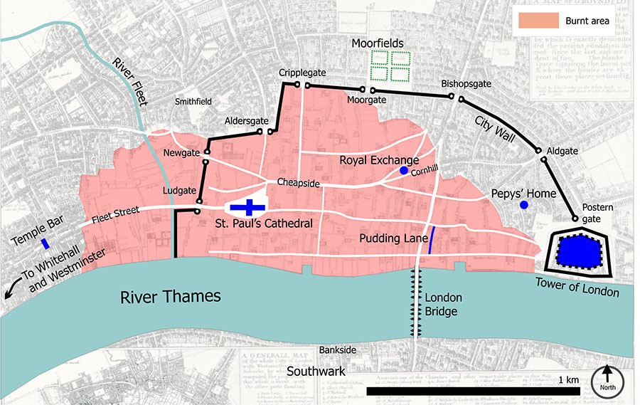 Central London in 1666, with the burnt area shown in pink. © Wikipedia
