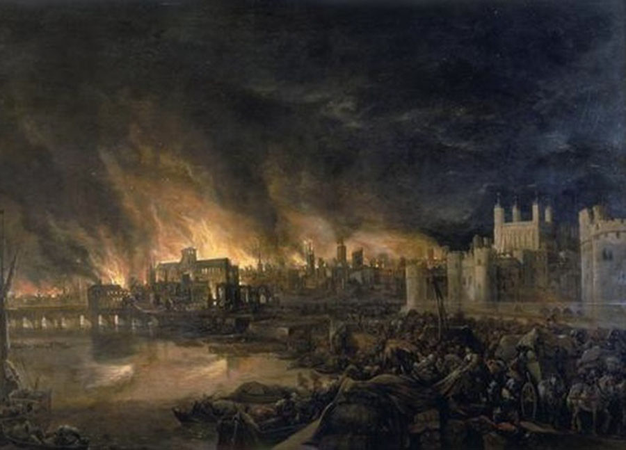 Detail of the Great Fire of London by an unknown painter, depicting the fire as it would have appeared on the evening of Tuesday, 4 September 1666 from a boat in the vicinity of Tower Wharf. © Wikipedia