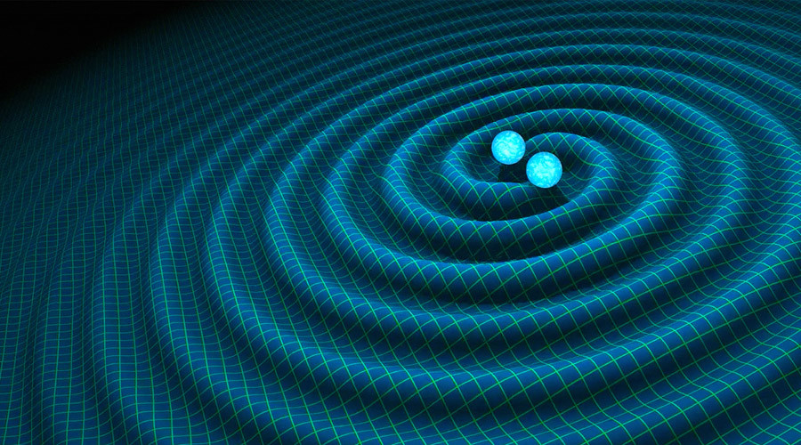 An artist's impression of gravitational waves generated by binary neutron stars. © R. Hurt/Caltech-JPL